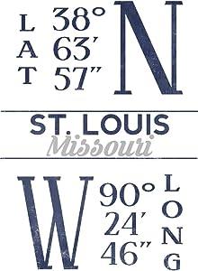 St. Louis, Missouri, Latitude and Longitude (Blue) (9x12 Art Print, Wall Decor Travel Poster)