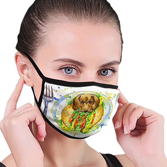 DISGOWONG Anti Breathing Shield Air Dust Face Mouth Shield Funny hot Dog Fast Food Splash Watercolor Textured Background Mouth Shield