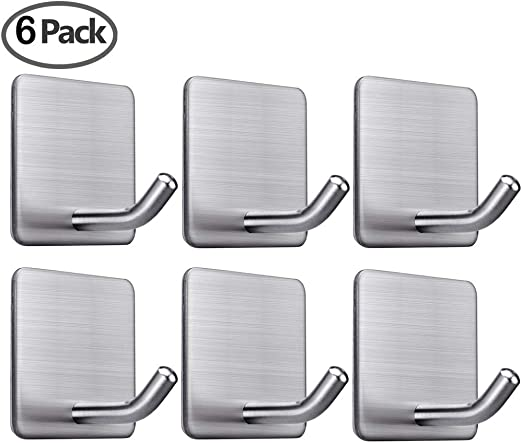 Weather-Proof Pack of 6 Brushed Stainless Steel Hanging Utility Hooks Heavy Duty Wall Hooks Organise Space at Home 35 kg Load Bearing Capacity Shop Garage Garden