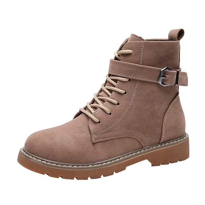 ❤ Zapatos con Cordones Botas,Botas Planas de Cuero con Cordones y Punta Redonda para Mujer con Cordones Ocasionales Zapatos Absolute: Amazon.es: Ropa y ...