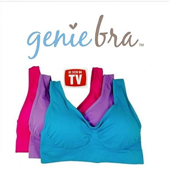 88a3a82a6b472 Genie Bra 3 Pack w/Removeable Pads Size Small - Blue/Pink/Purple at ...