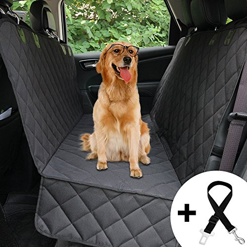 HONEST OUTFITTERS Honest Luxury Quilted Dog Car Seat Cover With Side Flap Pet Backseat cover for Cars, Trucks, and Suv's - WaterProof & NonSlip Diamond Pattern Dog Seat Cover by HONEST OUTFITTERS