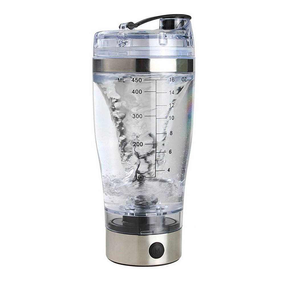 Zorvo 450ml Portable Stainless Steel Vortex Mixer High Torque Tornado Shaker Bottle Protein Shaker Bottle Travel Automatic Mixing Cup Coffee Cocoa Juice Protein Powder Leak Proof