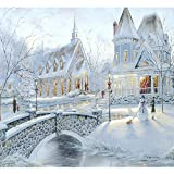 Blxecky 5D DIY Diamond Painting By Number Kits,Snow castle(16X14inch/40X35CM)