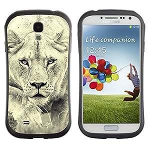 "Pulsar iFace Series Tpu silicona Carcasa Funda Case para SAMSUNG Galaxy S4 IV / i9500 / i9515 / i9505G / SGH-i337 , León Foto Mujer Caza Safary gato grande"""