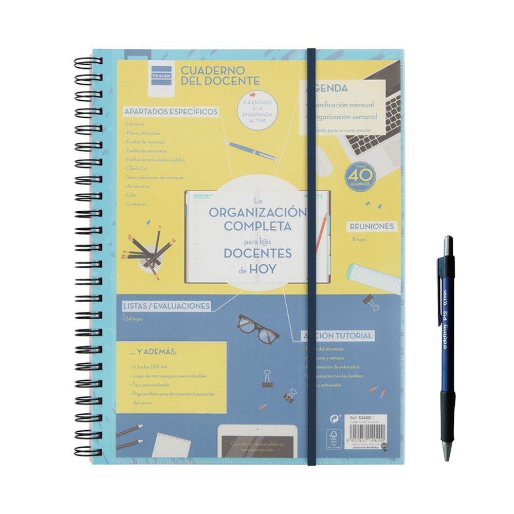 Finocam 5340001 - Cuaderno del docente , formato 230x210 mm. La Organización completa para los docentes de hoy + REGALO: Amazon.es: Oficina y papelería