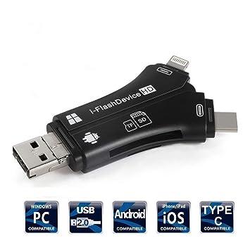 ETbotu 4 en 1 iPhone/Micro USB/USB Tipo-c/USB Lector de Tarjetas ...