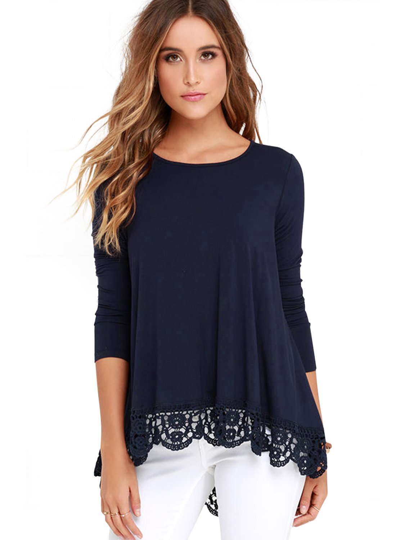 Women's Loose Round Neck Short & Long Sleeve Lace Hem Blouse A-line Flowy Plain Tunic Tops