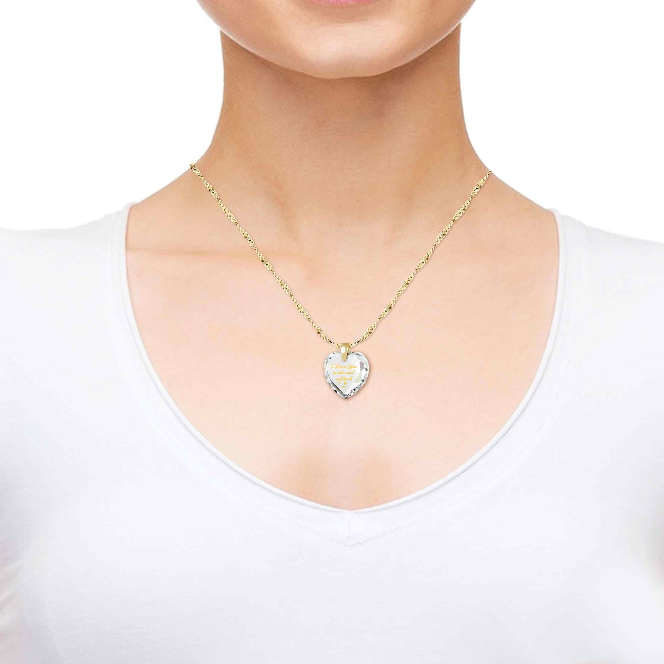 Heart Jewelry Set CZ I Love You to the Moon and Back Necklace and Crystal Earrings, 18'' Gold Filled Chain by Nano Jewelry (Image #5)
