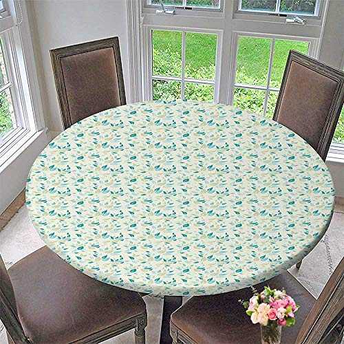Mikihome Round Premium Tablecloth RoomSmall Daisies s in Full Blossom Composition Light Khaki Teal White Stain Resistant 31.5