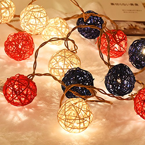 Emlyn Rattan Ball LED String Lights 14.8 Feet 20 LED Night Lights for Wedding Bedroom Party Decorations by Emlyn (Image #1)