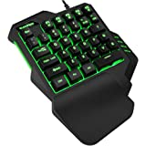 TESHIUCK One Handed Gaming Keyboard, RGB Led Backlit USB Wired Mini Gaming keypad,with Programmable Keys Portable Gamer Small Gameboard for Esports FPS