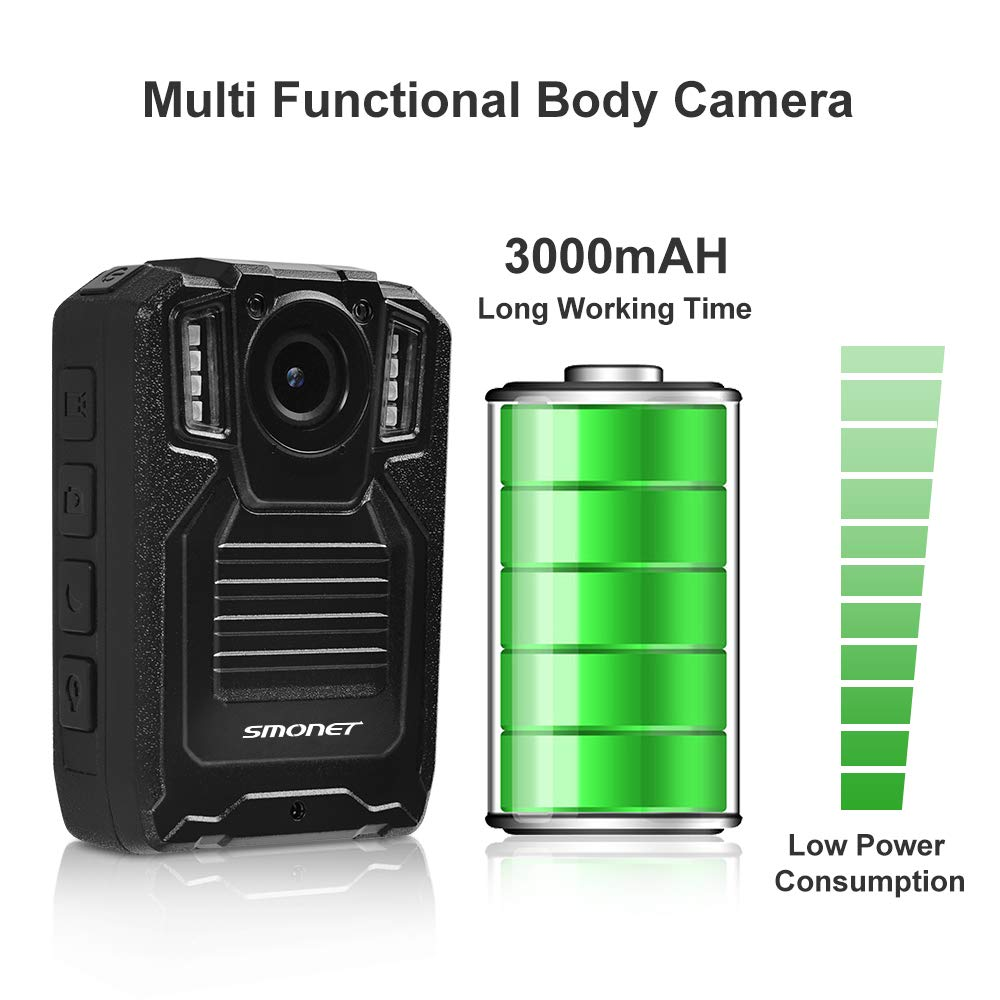 SMONET 【2019 New】 Body Camera with Audio, HD Multifunctional Police Body Cameras for Law Enforcement,Security Guard,Waterproof Body Worn Camera with Night Vision,2 Inch Display Video,Wide Angle(32GB) by SMONET (Image #5)