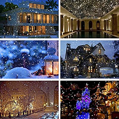 LED Snowfall Projector Lights Christmas, IP65 Waterproof Rotatable Snowflake Projector Lights with Remote Controller, 32ft(10M) Power Cable on, Christmas Halloween Holiday Party