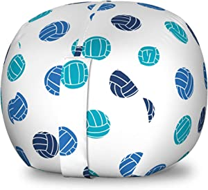 Lunarable Volleyball Storage Toy Bag Chair, Sports Ball Theme Doodle Style Simplistic Composition Healthy Living, Stuffed Animal Organizer Washable Bag for Kids, Small Size, Pale Blue