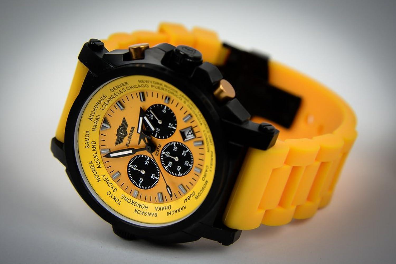 Armbanduhr Flieger FO64 gelb Chronograph Armbanduhr