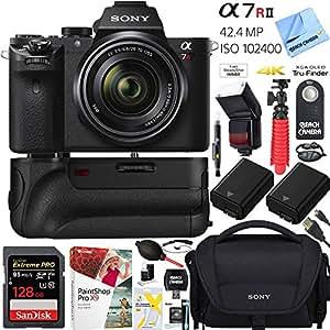 Sony a7R II 42.4MP Full-frame Mirrorless Interchangeable Lens Camera Body w/ Sony FE 28-70mm F3.5-5.6 OSS Full Frame E-Mount Lens + 64GB Battery Grip and Memory Bundle
