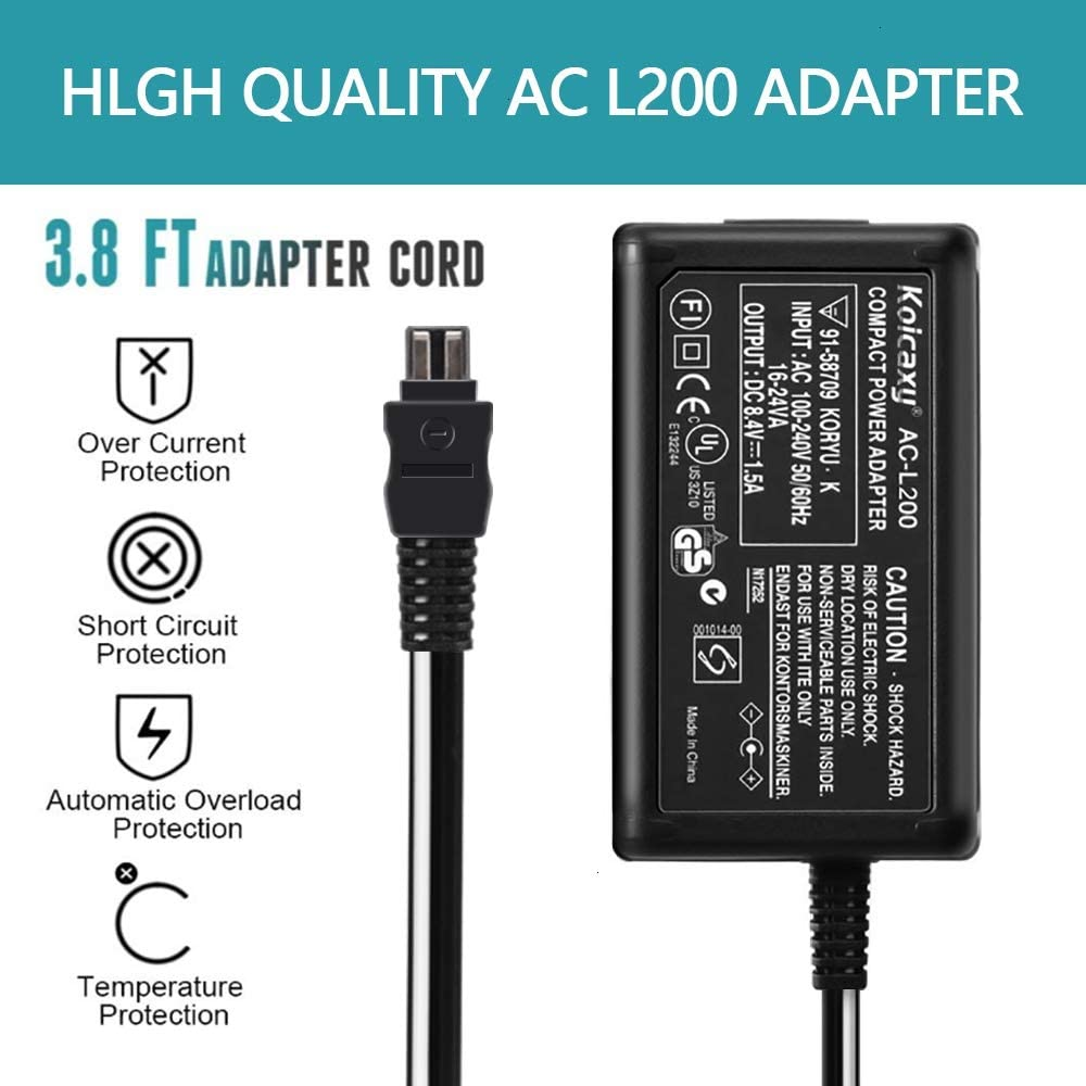 DCR-HC36 HDR-HC3 HDR-HC5 DCR-HC32 DCR-HC30 HDR-HC7 DCR-HC28 HC52 DCR-HC38 AC-L200 Power Adapter Charger for Sony Handycam DCR-HC21 DCR-HC26 HDR-HC9 Camcorder DCR-HC42