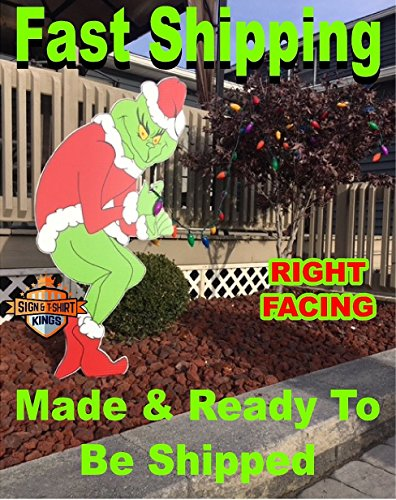 Grinch Stealing Christmas Lights RIGHT FACING Yard Art FAST -