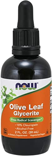 NOW Supplements, Olive Leaf Glycerite Liquid, 18 Oleuropein, Dropper Included, Free Radical Scavenger*, 2-Ounce