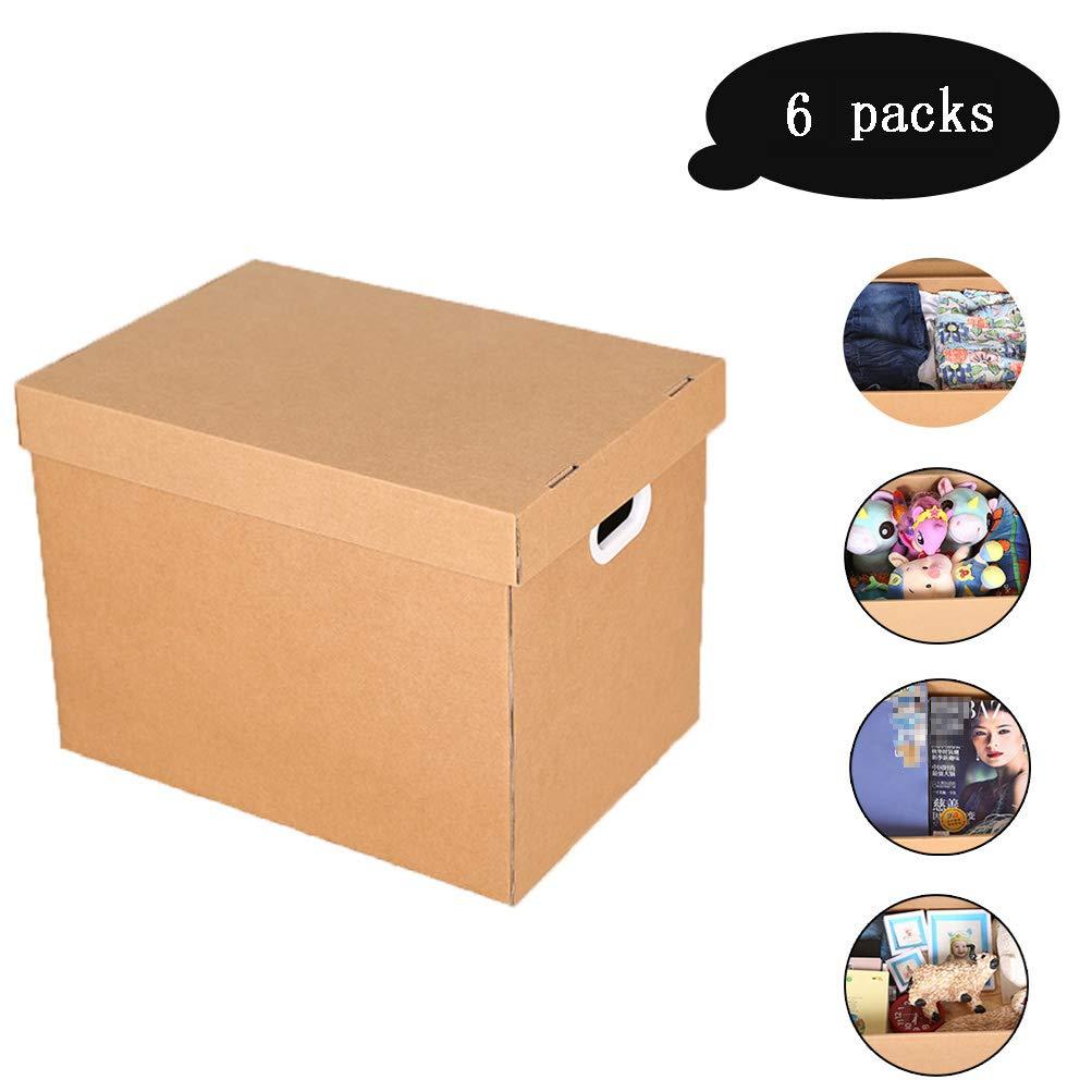 収納ボックス ふた付き 特大段ボール収納梱包 キャリ二重壁 収納ケースハンドルと家のため、オフィス、移動家、6パック,30L B07RSMZQ1W  30L