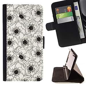 Momo Phone Case / Flip Funda de Cuero Case Cover - Blanco Negro Flor Dibujo Arte - LG G4c Curve H522Y (G4 MINI), NOT FOR LG G4