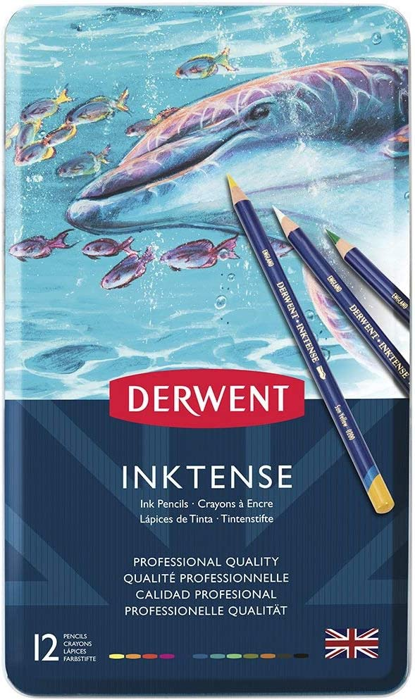 Derwent Inktense Pencil Set, Assorted Color, 12-Tin