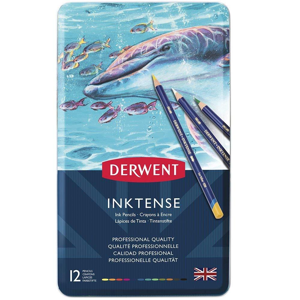 Derwent Inktense Watercolour Matite Idrosolubili in Scatola di Metallo Confezione da 24