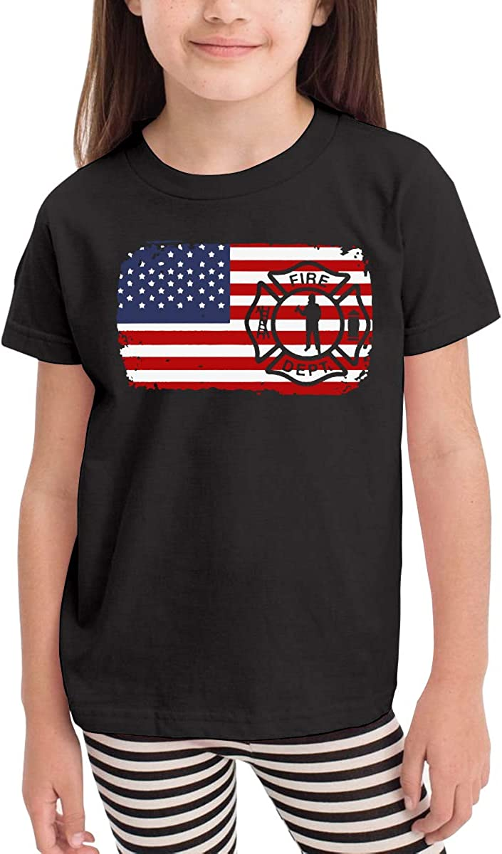 Firefighter American Flag Firefighter American Flag Infant Kids Crewneck Short Sleeve Shirt Tee Jersey for Toddlers