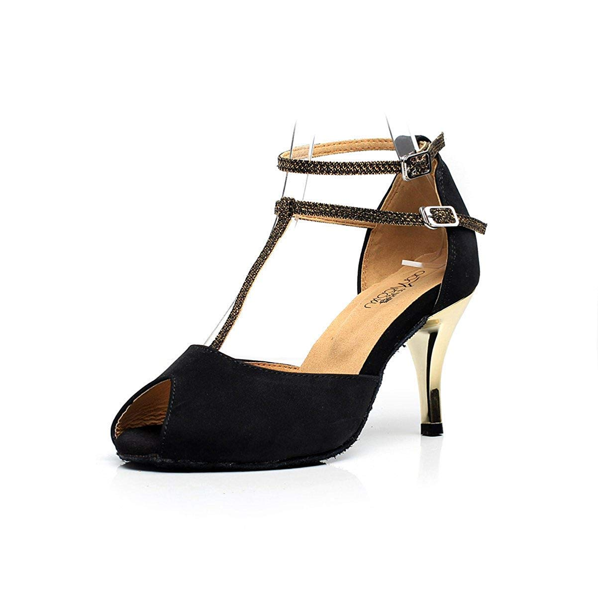 Damen T-Strap Tanzschuhe Salsa Tango Chacha Samba Modern Modern Modern Jazz Schuhe Sandalen High Heels Schwarz-Absatz7.5cm-UK3.5   EU34   Our35 815a61