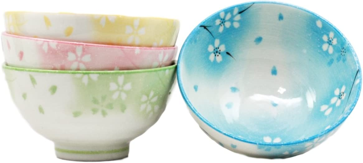 Amazon Com Atlantic Collectibles 4 5 Diameter Japanese Bright Colored Spring Cherry Blossoms Sakura Floral Dinnerware Bowl Set Of 4 Made In Japan Artistic Pottery Decor Kitchen Dining