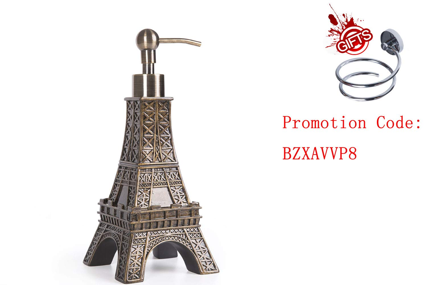 SILOKO 3D Eiffel Tower Metal Pump Soap Dispenser for Kitchen or Bathroom Bronze by SILOKO (Image #1)