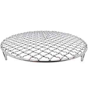 InBlossoms Versatile Round 304 Stainless Steel Cooling Rack Baking,Heat Resistant Rust Proof Sturdy Durable Dia 7""