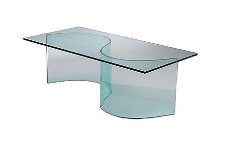 Qriosa stile italiano mod. snodo tavolino basso in vetro curvo