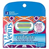 Gillette Venus Embrace Women's Razor Blade Refills, Purple, 4 Count, Womens Razors / Blades