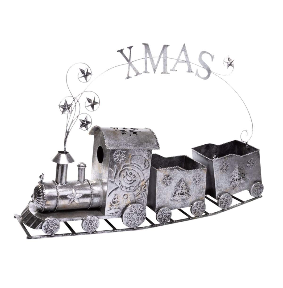 PuROTay Weihnachtsdeko - Dekoobjekt Weihnachtszug - - - Metall - Silber - Breite ca. 93 cm c0ef9a