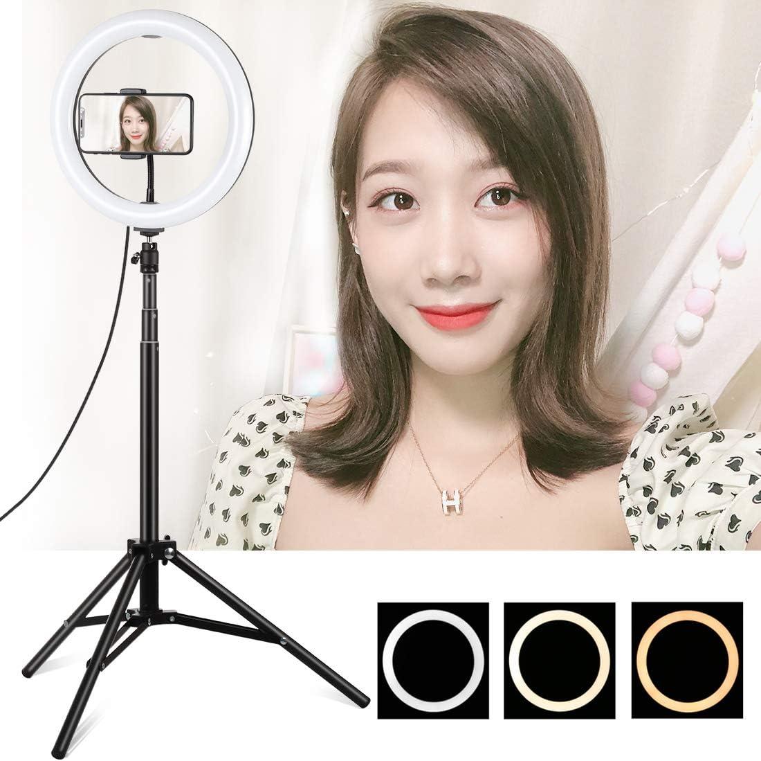 photo vid/éo LuoKe Selfie Fill Light 10,2 pouces r/églable LED incurv/ée changement de 3 couleurs avec tr/épied 165cm pour Tik Tok maquillage