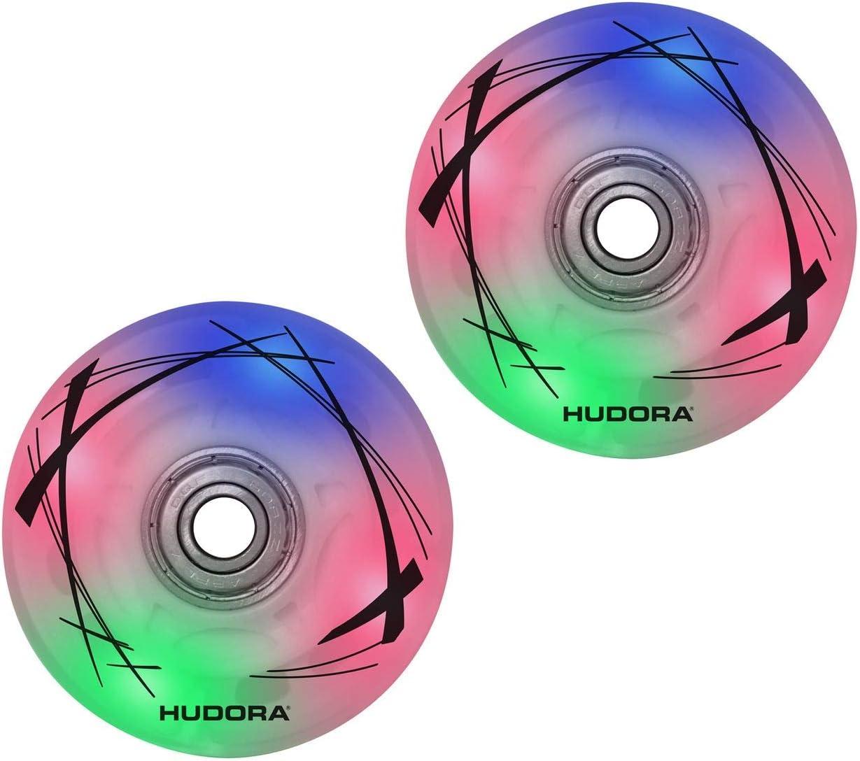 64 mm x 22 mm 2 LED Hudora 85062 Ruedas de Repuesto para Patines en l/ínea