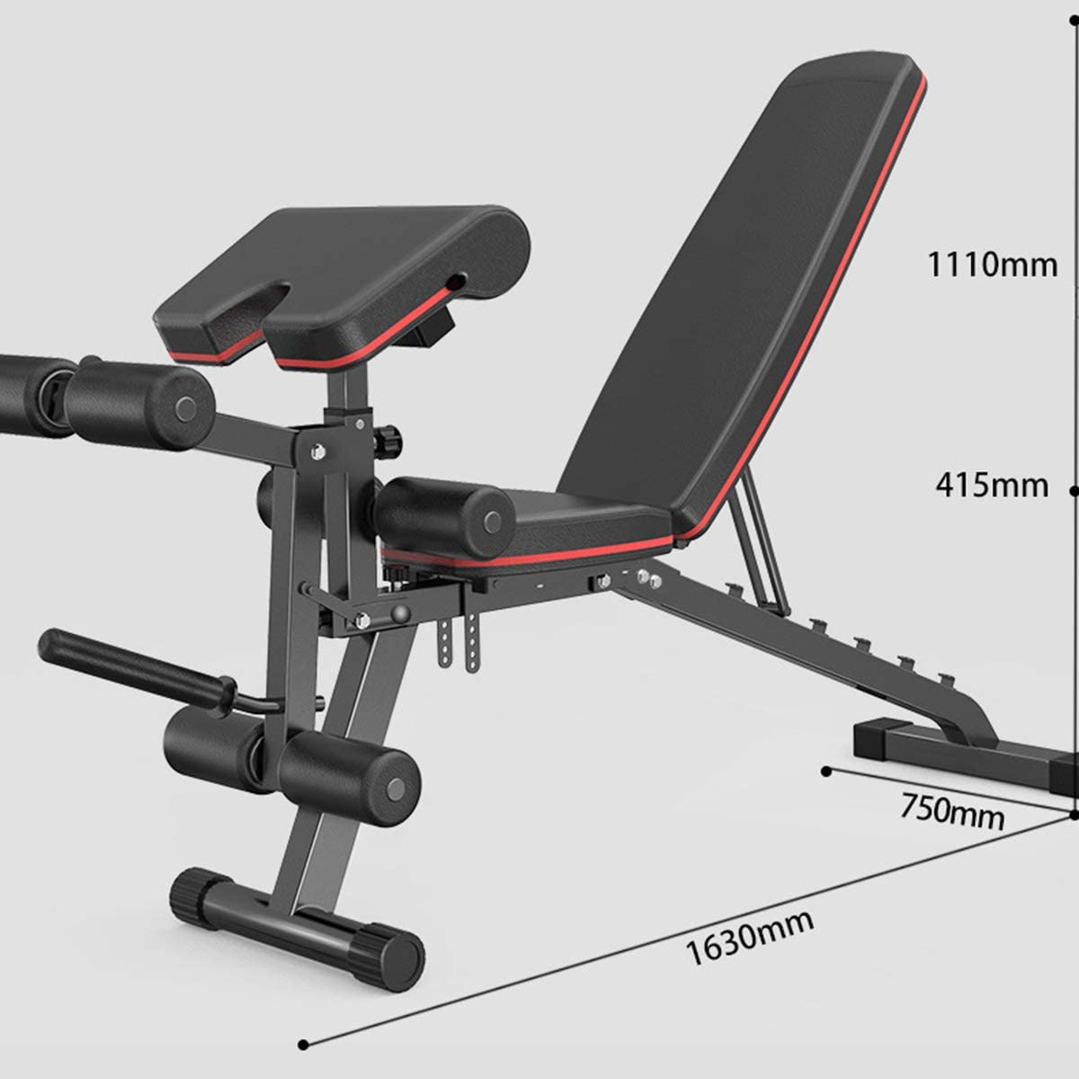 Home Gym Ycrdtap Folding Weight Bench with Preacher Curl Maximum Load 300 Kg for Full Body Exercises Weight Bench with Leg Extension And Leg Curl 7-Way Adjustable Backrest