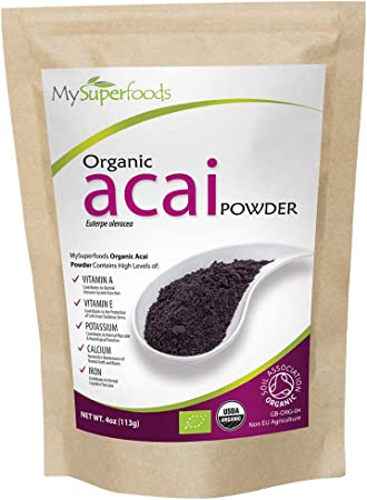 Organic Acai Berry Powder (125 grams)   MySuperFoods   Certified Organic   High In Antioxidants   Rich in Fibre, Protein, Iron and Nutrients   ...