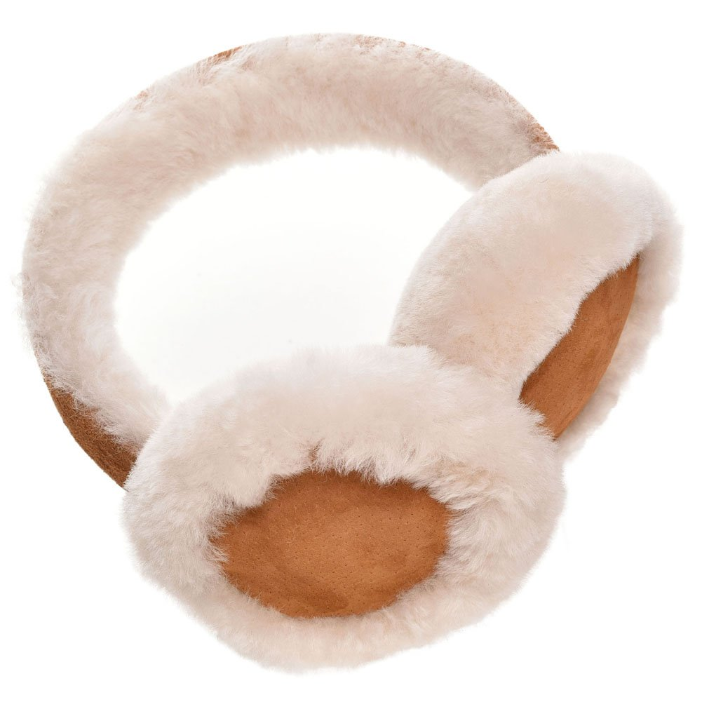 Lambland Ladies Genuine Suede and Luxurious Sheepskin Earmuffs with Sprung Loop - Tan, Chestnut, Black, Brown