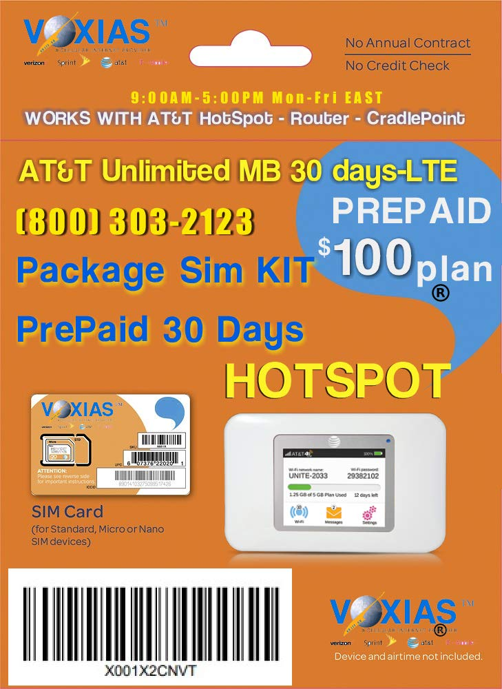 AT&T Tripple-SIM-Card for Unlimited Data Plan by VOXIAS