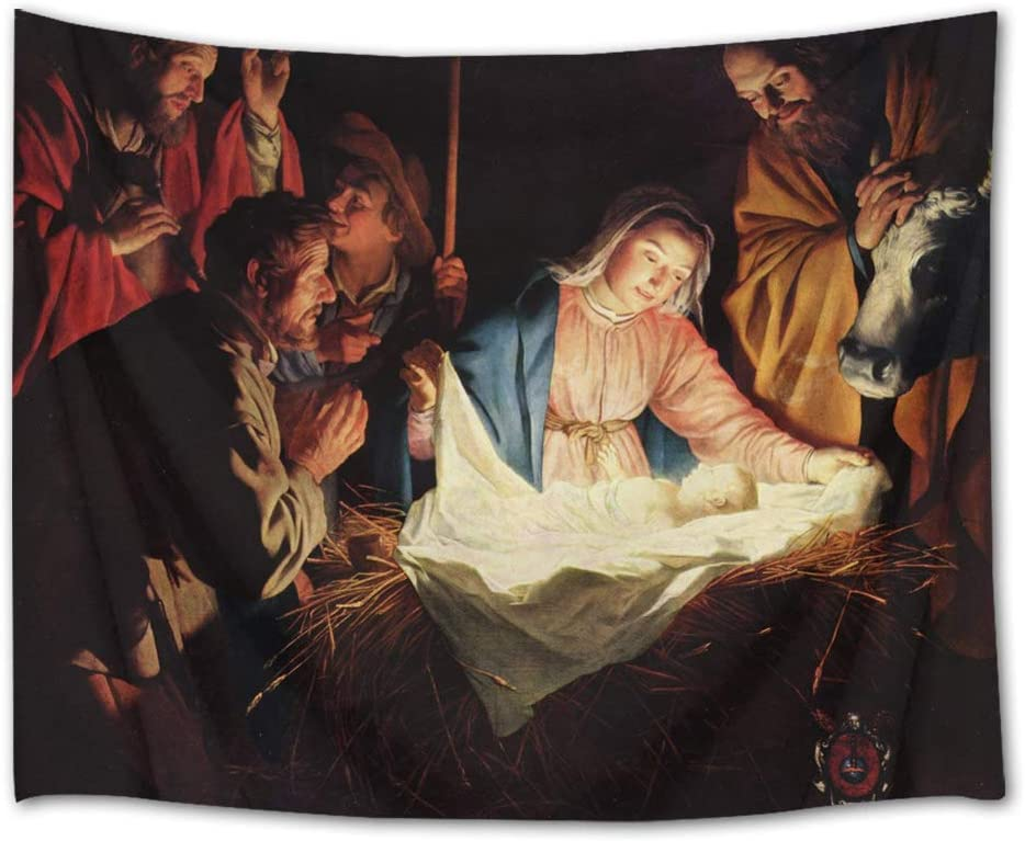 LB Christmas Jesus Nativity Tapestry Wall Hanging Birth of Jesus Virgin Mary Tapestry Wall Art Decor Christian Religious Tapestry for Bedroom Living Room Dorm Home Decor,60 x 40 in