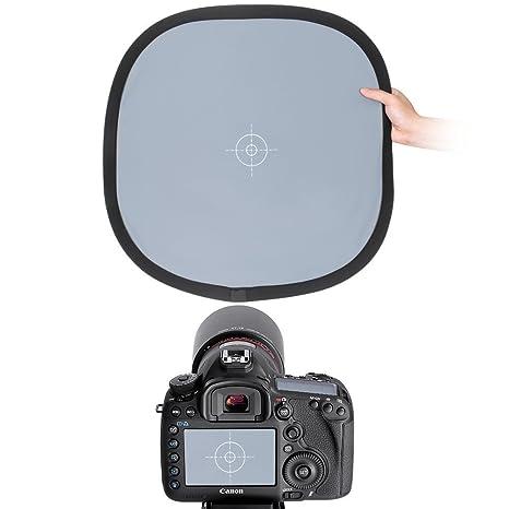 Balance de blancos Tarjeta gris, CAM-ULATA 24 x 24 pulgadas / 60 x 60 cm 2-en-1 Balance de blancos plegable portátil 18% Gris Reflector de referencia ...