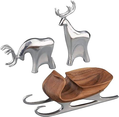 Nambe Sleigh with Reindeer, Christmas Figurine