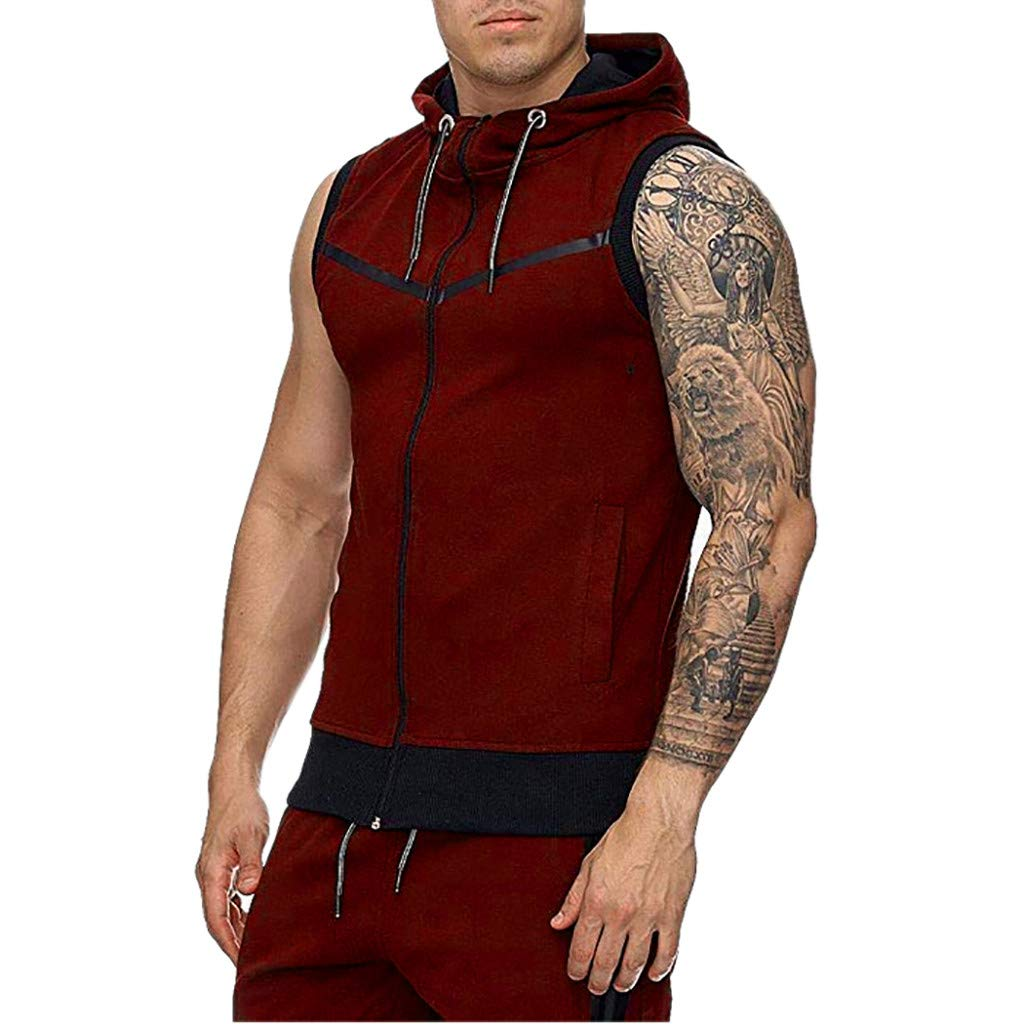 Giulot Mens Casual Regular-Fit Hooded Fashion Sleeveless Contrast Hoodie Tank Top