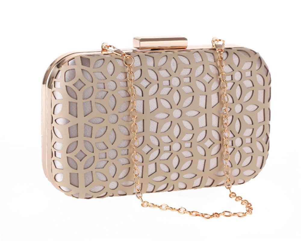 Elegant PU Leather Hollow Out Evening Clutch Grab Bag Formal Occasion Wedding Wallet(Nude)