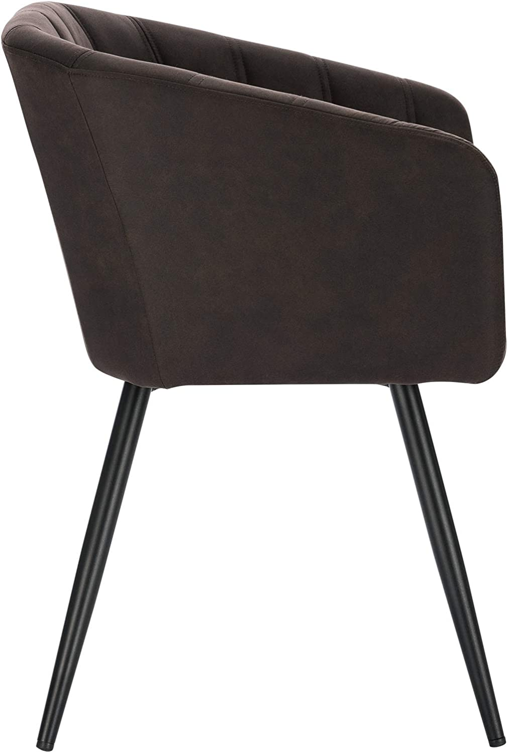 Lestarain 2 Pieces Dining Chair, Kitchen Chair Living Room Chair Fabric Cloth Upholstered Chair With Armrest Metal Legs Chair for Dining Room Living Room&Kitchen - Brown Dark Brown
