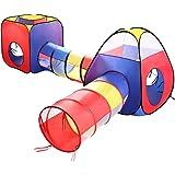 Tente Tunnel Enfant, Eocusun Pliant Tente Maison Aire de Jeux Pop-up Exterieur avec Tente Boule Pit et Panier + Sac de Rangement à Glissière, 4en 1 multicolore