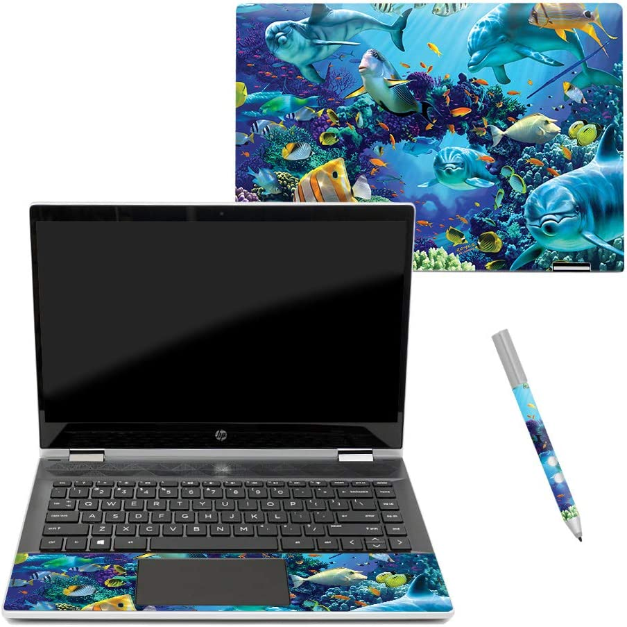 """Mightyskins Skin Compatible with Hp Pavilion X360 14"""" (2018) - Ocean Friends   Protective, Durable, and Unique Vinyl Decal Wrap Cover   Easy to Apply, Remove, and Change Styles   Made in The USA"""